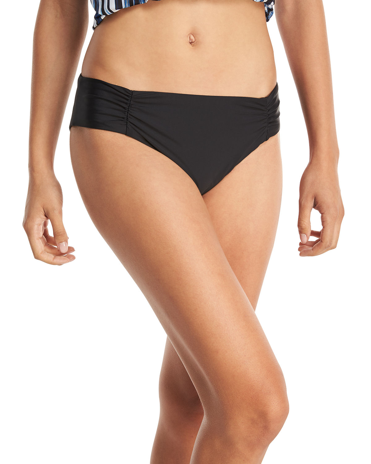 Hey There Shirred-Side Hipster Swim Bottom Plus Size