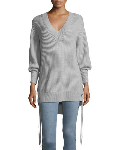 Ivy Long Lace-Up V-Neck Sweater