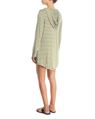 Image 2 of 2: Hooded Scoop-Neck Long-Sleeves Striped Tunic