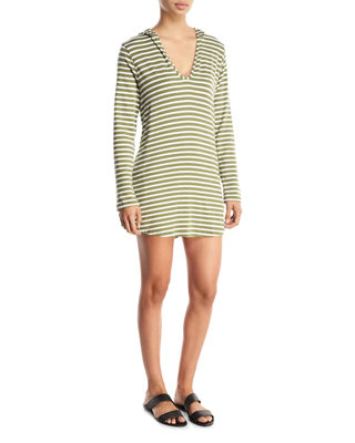 Image 1 of 2: Hooded Scoop-Neck Long-Sleeves Striped Tunic
