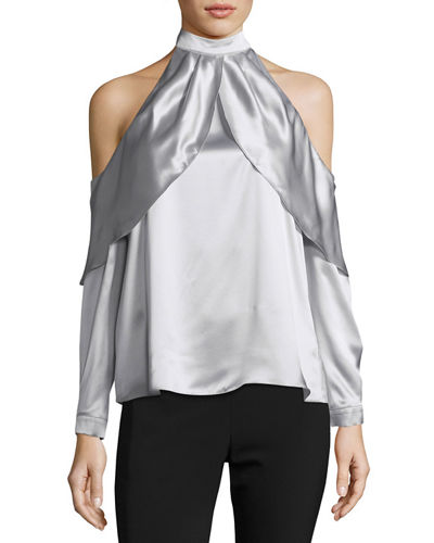 Sonelle Mock-Neck Cold-Shoulder Silk Satin Blouse