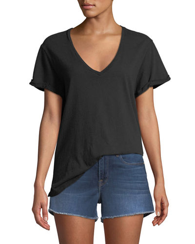 Deep-V Cuffed Short-Sleeve Cotton Tee
