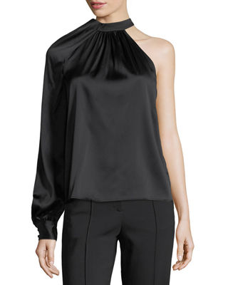 A.L.C. Piper Mock-Neck One-Shoulder Silk Satin Blouse