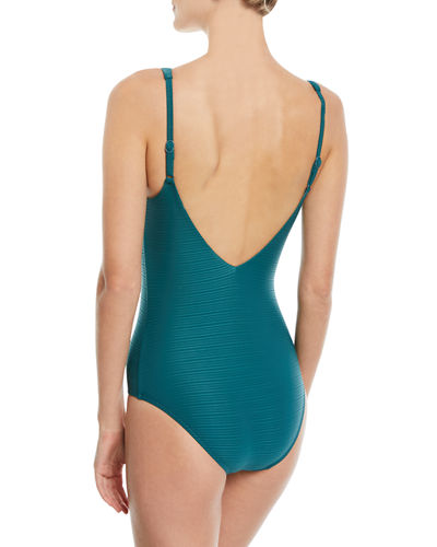 Disposition Striped DD Underwire One-Piece Swimsuit, (D-DD Cups)