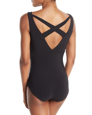 Image 2 of 4: Clorinda Strappy Cutout V-Neck One-Piece Swimsuit