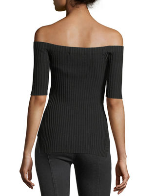Image 2 of 3: Off-the-Shoulder Short-Sleeve Ribbed Silk Top
