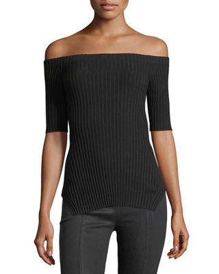Image 1 of 3: Off-the-Shoulder Short-Sleeve Ribbed Silk Top