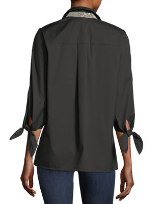 Image 2 of 2: Liv Bow-Cuff Stretch-Cotton Blouse with Chain-Trim Collar