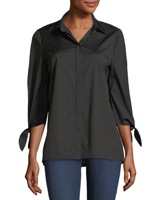 Image 1 of 2: Liv Bow-Cuff Stretch-Cotton Blouse with Chain-Trim Collar