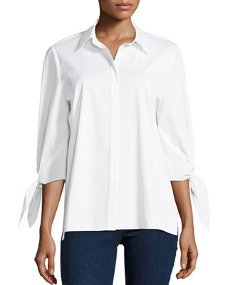 Liv Bow-Cuff Stretch-Cotton Blouse with Chain-Trim Collar