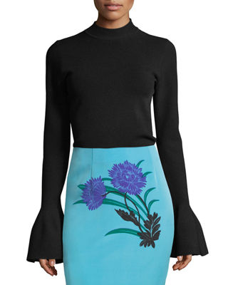 Image 1 of 4: Flutter-Sleeve Mock-Neck Sweater