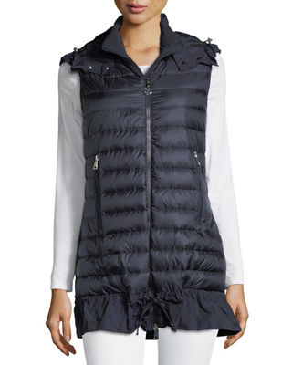 MONCLER AMARANTE HOODED QUILTED DOWN GILET, EBONY, BLUE