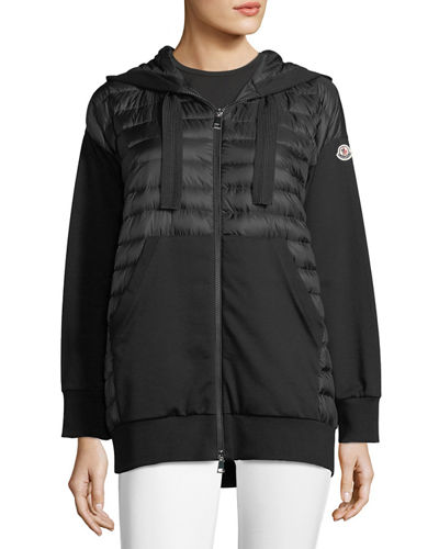 Moncler Maglia Zip-Front Mixed Media Hoodie