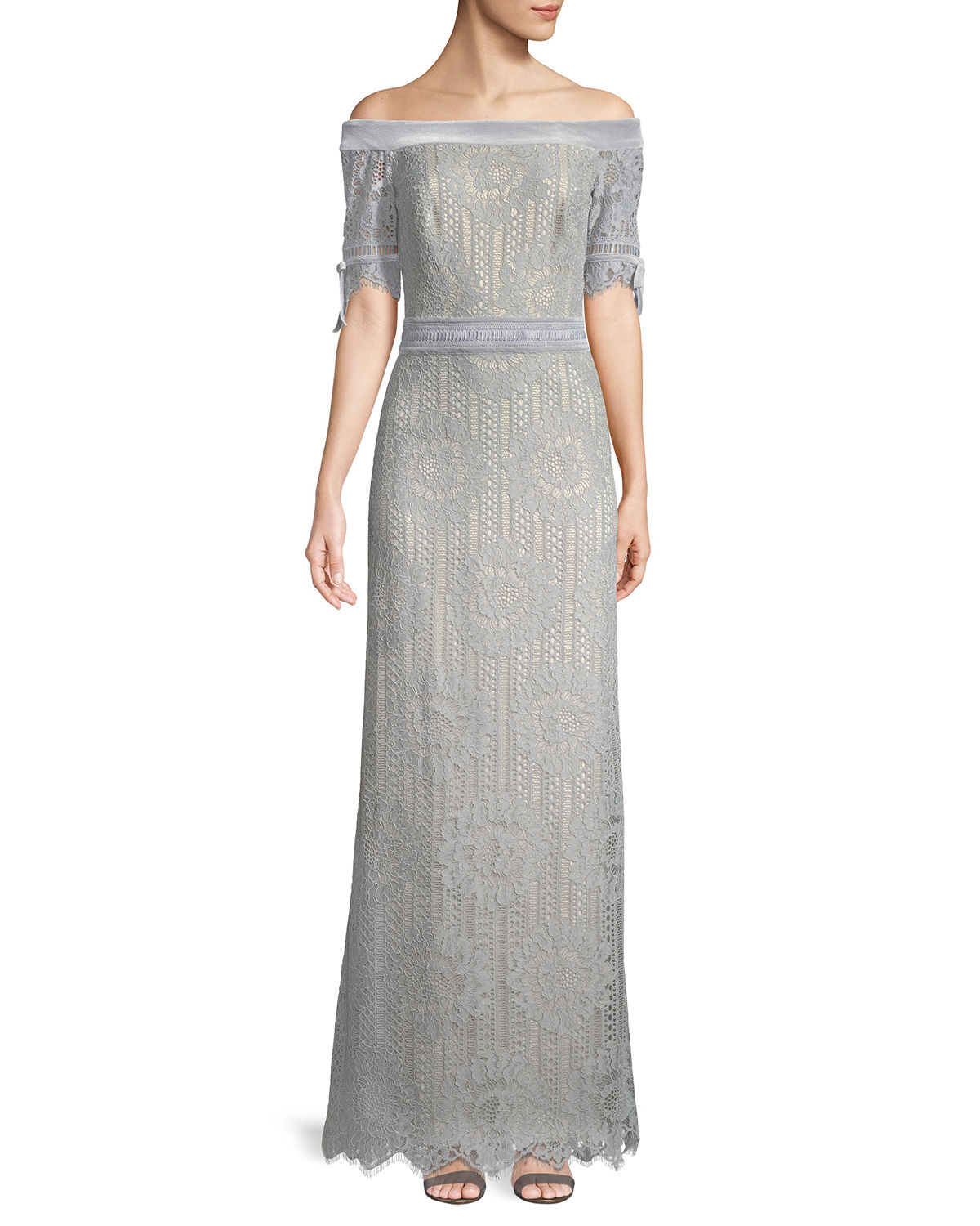 Tadashi Shoji Off-the-Shoulder Circular Lace Evening Gown | Neiman ...