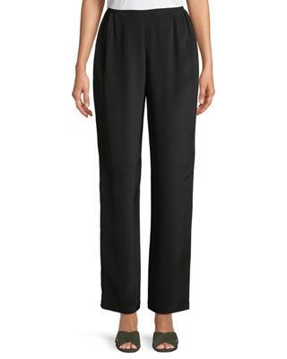 Silk Crepe Straight-Leg Pants
