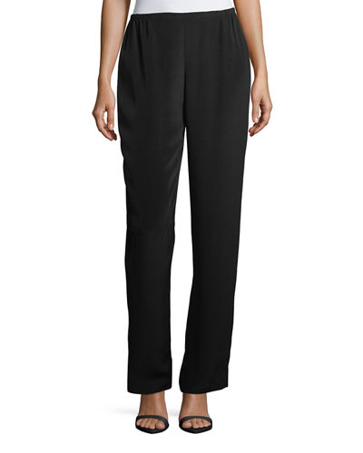 Plus Size Silk Crepe Straight-Leg Pants
