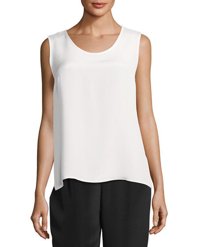 Mid-Length Silk Crepe Tank Top, Plus Size
