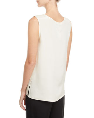 Image 2 of 2: Mid-Length Silk Crepe Tank Top, Plus Size