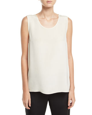 Image 1 of 2: Mid-Length Silk Crepe Tank Top, Plus Size