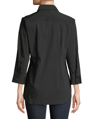 Image 3 of 3: Raleigh Side-Tie Poplin Blouse
