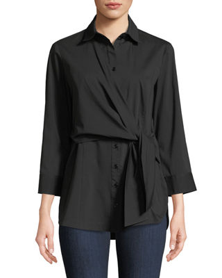 Image 1 of 3: Raleigh Side-Tie Poplin Blouse
