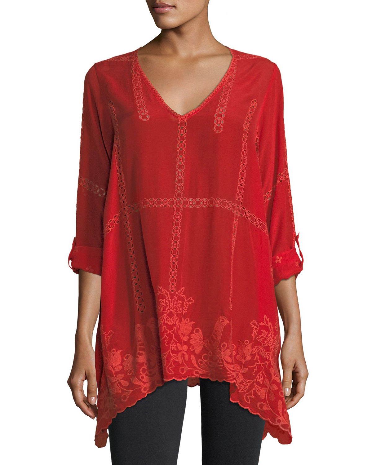 b710806cb15219 Johnny Was Cage Flare Long-Sleeve Tunic | Neiman Marcus