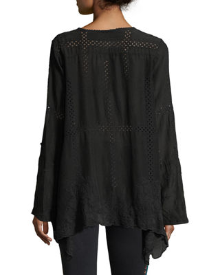 Cage Flare Long-Sleeve Tunic, Plus Size