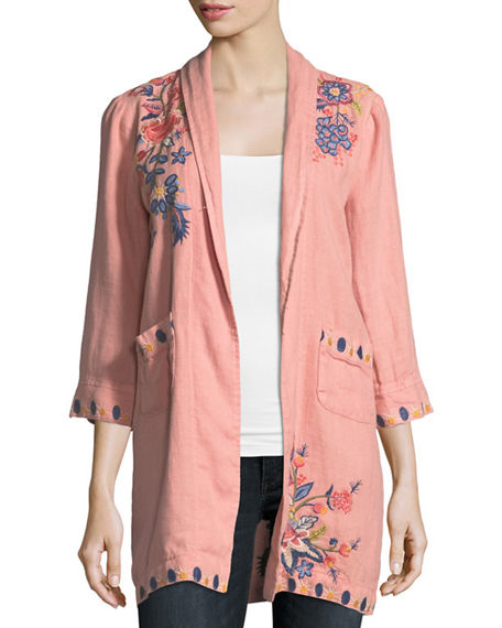 Johnny Was  TIVVA HEAVY LINEN EMBROIDERED COAT, PETITE