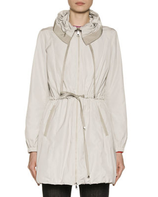 Topaze Long Self-Tie Top Coat w/ Hood