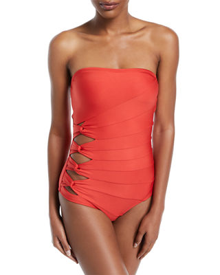 Coastal Twist-Side Bandeau One-Piece Swimsuit