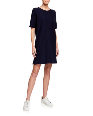 Half-Sleeve Crepe Shift Dress