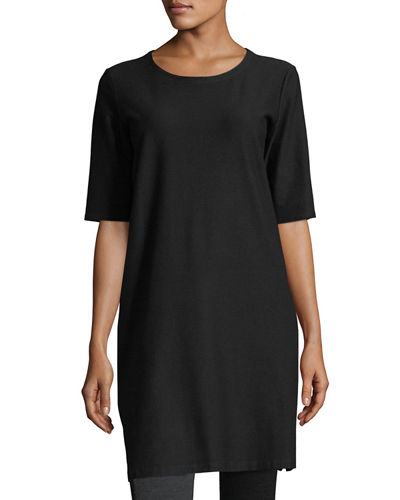 Half-Sleeve Crepe Shift Dress, Petite