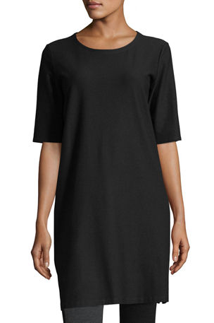 Eileen Fisher Plus Size Half-Sleeve Crepe Shift Dress