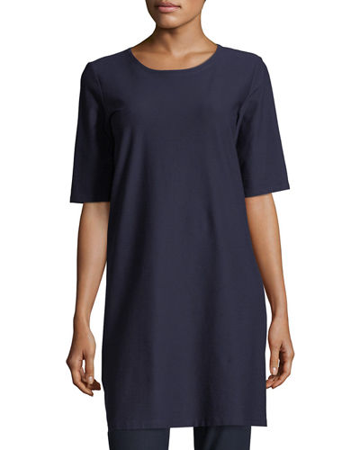 Plus Size Half-Sleeve Crepe Shift Dress