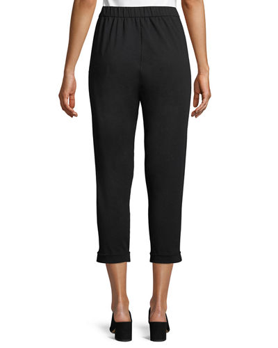 Jersey Slouchy Cropped Pants, Plus Size