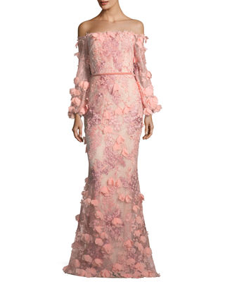 Marchesa Notte Off-the-Shoulder 3D Floral Mermaid Evening Gown