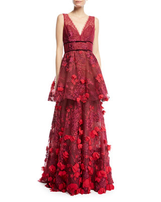 Marchesa Notte Two-Tiered 3D Floral-Embellished Gown