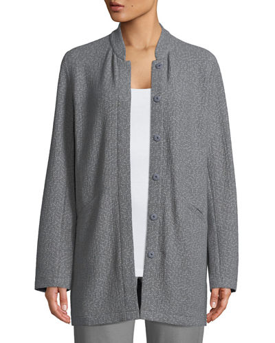 Textural Cotton Stretch Jacket, Petite