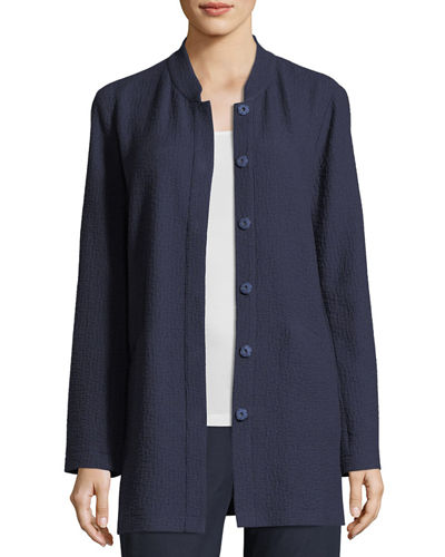Textural Cotton Stretch Jacket, Plus Size