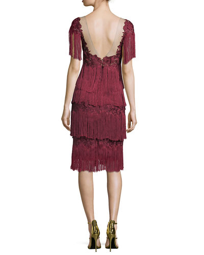 Tiered Fringe Knee-Length Cocktail Dress
