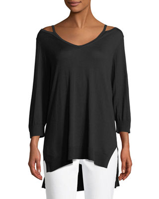 Joan Vass Open V-Neck Easy Sweater Tunic, Plus