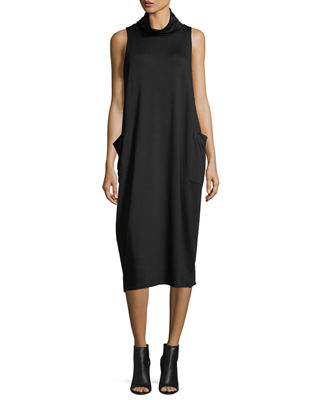 Cowl-Neck Sleeveless Knit Dress, Petite