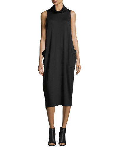 Eileen Fisher Cowl-Neck Sleeveless Knit Dress, Plus Size