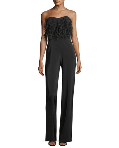 Aurelie Strapless Jumpsuit with Faux-Feathers