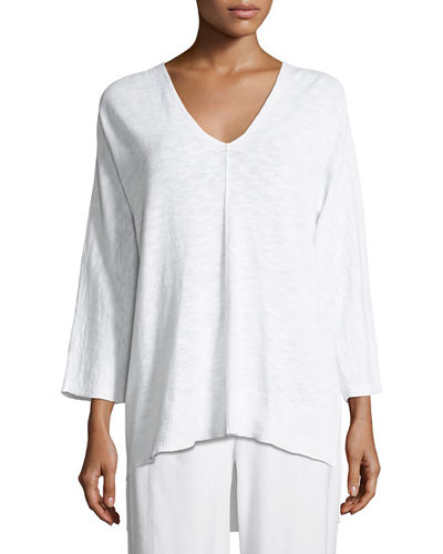 Eileen Fisher 3/4-Sleeve Slub Knit V-Neck Top