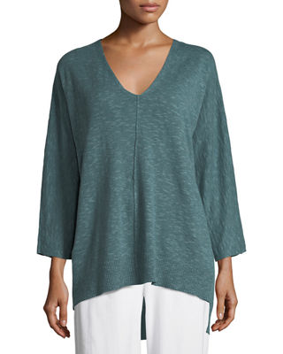 3/4-Sleeve Slub Knit V-Neck Top