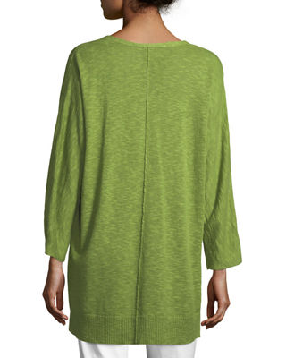 Image 2 of 3: 3/4-Sleeve Slub Knit V-Neck Top, Plus Size