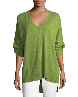 3/4-Sleeve Slub Knit V-Neck Top, Plus Size