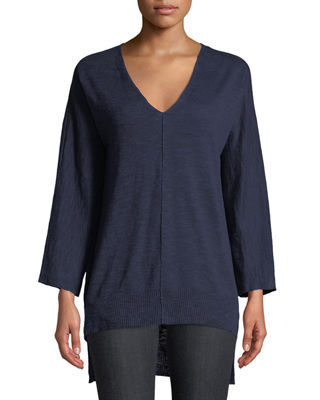 Eileen Fisher 3/4-Sleeve Slub Knit V-Neck Top, Plus