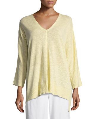 3/4-Sleeve Slub Knit V-Neck Top, Petite